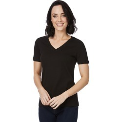 Rockmans Short Sleeve V Neck Tee - Black - XS found on Bargain Bro India from BE ME for $11.44