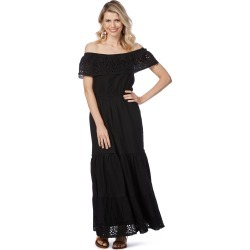 Rockmans Short Sleeve Embroidered Maxi Dress - Black - 8 found on Bargain Bro India from BE ME for $21.11