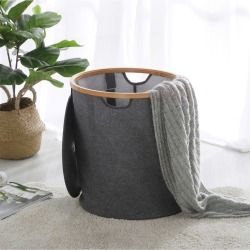 Sherwood Home Linen And Bamboo Round Short Laundry Bag With Cover - Grey - One found on Bargain Bro from crossroads for USD $26.34