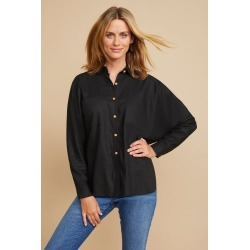 Grace Hill Linen Blend Button Shirt - Black - 8 found on Bargain Bro Philippines from W Lane for $69.88