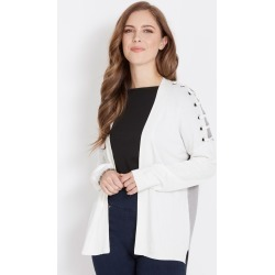 Rockmans Long Sleeve Eyelet Shoulder Cardigan - Cream/grey Marle - S found on Bargain Bro India from Rivers for $15.55