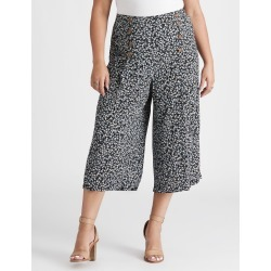 Beme Crop Button Front Printed Pant - Blue Ditsy Floral - 16 found on Bargain Bro from Noni B Limited for USD $23.51
