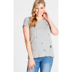 Crossroads Sequin Spot Top - Grey Marle found on Bargain Bro Philippines from crossroads for $14.83