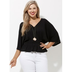 Crossroads Faux Knit Wrap Top - Black - XS found on Bargain Bro Philippines from crossroads for $14.14