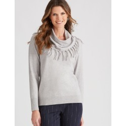 W.lane Cowl Fringe Pullover - Silver Marl - XS found on Bargain Bro Philippines from crossroads for $22.79