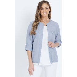 W.lane Drawstring Button Jacket - Chambray - 8 found on Bargain Bro from Katies for USD $20.71