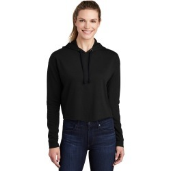 Sport-tek Ladies Posicharge Tri-blend Wicking Fleece Crop Hooded Pullover Lst298 - Black Triad Solid - S found on Bargain Bro Philippines from Noni B Limited for $38.35