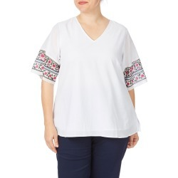 Beme Elbow Sleeve Batwing Border Print Top - Border Prt - 14 found on Bargain Bro from BE ME for USD $8.53