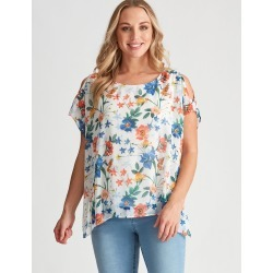 Crossroads Floral Overlay Top - Multi - XS found on Bargain Bro from crossroads for USD $7.15