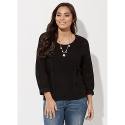 Crossroads 3/4 Side Stitch Knit Jumper - Black - XXL found on Bargain Bro from BE ME for USD $23.40