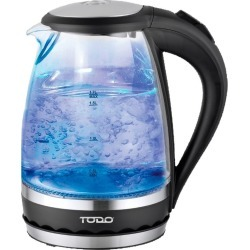 Todo 1.5l Glass Cordless Kettle Electric Blue Led Light 360 Clear Jug - Black - One found on Bargain Bro from Noni B Limited for USD $19.96