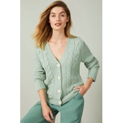 Capture Cable V Neck Cardigan - Pistachio - XL found on Bargain Bro from crossroads for USD $29.31