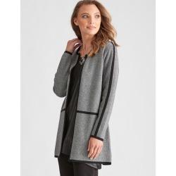 Liz Jordan Long Sleeve Contrast Trim Knit Cardi - Black - S found on Bargain Bro from Noni B Limited for USD $44.03