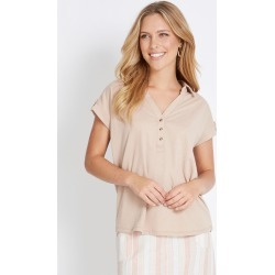 Rockmans Short Sleeve Shirt Style Textured Top - Sand - L found on Bargain Bro India from crossroads for $9.33