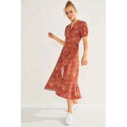 Emerge Linen Blend Midi Wrap Dress - Terracotta Print - 8 found on Bargain Bro from crossroads for USD $40.44