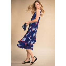 Grace Hill Ruffle Slip Dress - Navy Print - 8 found on Bargain Bro India from Rockmans for $57.18