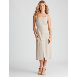 Rockmans Sleeveless Linen Button Through Dress - Natural - 8 found on Bargain Bro Philippines from crossroads for $14.14