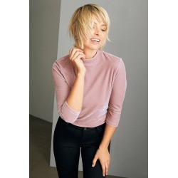 Emerge High Neck 3/4 Sleeve Velvet Tee - Dusky Pink - 16 found on Bargain Bro India from Rivers for $11.42