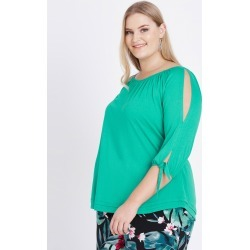 Beme 3/4 Slit Sleeve Tie Top - Jade - M found on Bargain Bro Philippines from Rockmans for $14.48