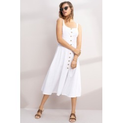 Emerge Linen Blend Button Midi Dress - White - 18 found on Bargain Bro Philippines from W Lane for $15.00