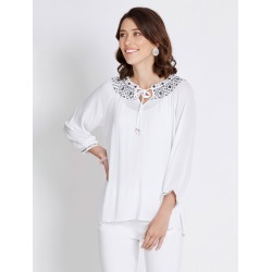 Rockmans 3/4 Sleeve Embroidered Necklace Blouse - White - 8 found on Bargain Bro Philippines from Rockmans for $13.70