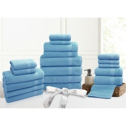 Kingtex 20 Piece 100% Cotton Bathtowel Set - Mid Blue - One found on Bargain Bro from Noni B Limited for USD $24.24
