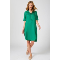 Capture Linen Button Front Dress - Green - 20 found on Bargain Bro Philippines from crossroads for $34.58