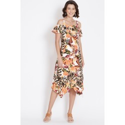 Rockmans Short Sleeve Palm Leopard Midi Dress - Animal - 14 found on Bargain Bro India from BE ME for $21.11