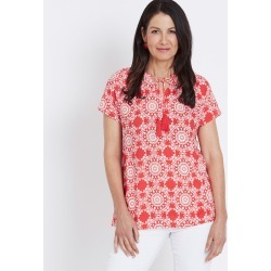 Millers Short Sleeve Gathered Blouse - Moroccan Tile - 20 found on Bargain Bro from Noni B Limited for USD $7.05