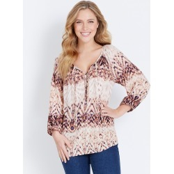 Rockmans 3/4 Sleeve Button Front Printed Blouse - Multi - 16 found on Bargain Bro India from Rivers for $11.66