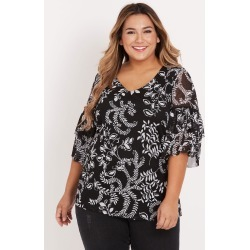 Beme Short Ruffle Sleeve Mesh Top - Mono Floral - S found on Bargain Bro India from BE ME for $51.11
