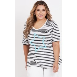 Beme Cap Sleeve Stripe Tee With Star Print - Blue Star - XS found on Bargain Bro from BE ME for USD $8.53