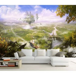 Aj Wallpaper 3d Aerial Castle Ship 1064 Wall Murals Removable Wallpaper Woven Paper - Multi - XXXXL found on Bargain Bro from Rockmans for USD $253.30