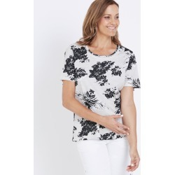 Millers Short Sleeve Scoop Neck Trim Detail T-shirt - Neutral Floral - 12 found on Bargain Bro India from crossroads for $7.62