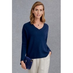 Grace Hill Cashmere Blend Long Sleeve Scoop Hem Jumper - Navy - M found on Bargain Bro India from Rockmans for $77.00