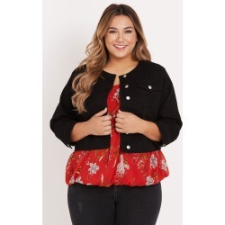 Beme 3q Sleeve Crop Denim Jacket - Black - 14 found on Bargain Bro India from BE ME for $57.49