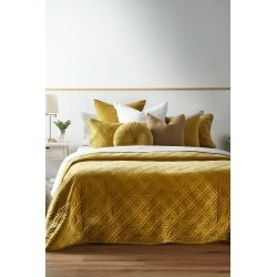 Windsor Quilted Velvet Bedcover - Old Gold - S found on Bargain Bro from Noni B Limited for USD $98.04