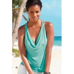 Urban Crochet Back Drape Top - Jade - 6 found on Bargain Bro from BE ME for USD $8.79