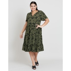 Beme S/s Flounce Dress - Dk Grn Floral - 16 found on Bargain Bro India from crossroads for $37.03