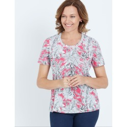 Millers Short Sleeve Printed T-shirt With Crochet Neck Insert - Hot Pink Leaf - 10 found on Bargain Bro India from Rockmans for $7.62