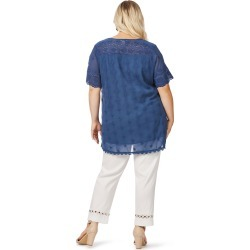 Beme Cap Sleeve Embroidery Angalise Top - Navy - 14 found on Bargain Bro from BE ME for USD $8.53