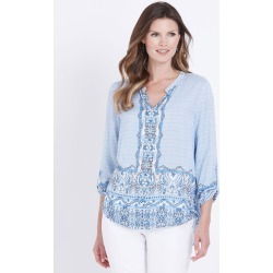 W.lane Border Print Beaded Blouse - Blue Multi - 18 found on Bargain Bro from W Lane for USD $22.54