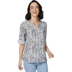 Rockmans Elbow Sleeve Paisley Print Linen Shirt - Multi - 8 found on Bargain Bro India from BE ME for $15.43