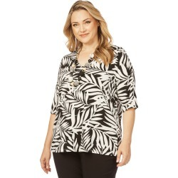 Beme Elbow Button Sleeve Mono Print Top - Mono Tropical - S found on Bargain Bro India from BE ME for $9.26