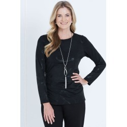 Liz Jordan Long Sleeve Tuck Front Top - Black - M found on Bargain Bro from Noni B Limited for USD $12.91