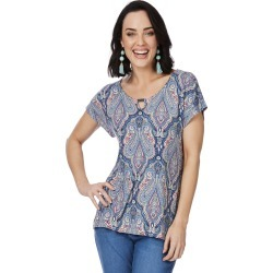 Rockmans Short Sleeve Double Bar Print Top - Multi - S found on Bargain Bro Philippines from Rockmans for $5.90