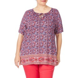 Beme Short Sleeve Folk Print Top - Pink/ Purple - Pink/ Purple - M found on Bargain Bro India from BE ME for $15.43