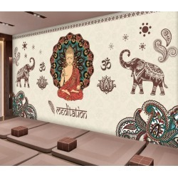 Aj Wallpaper 3d Buddha Pensive Elephant 1046 Wall Murals Removable Wallpaper Self-adhesive Vinyl - Multi - XL found on Bargain Bro from Rockmans for USD $288.65