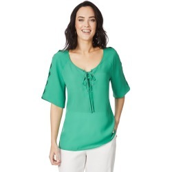 Table Eight Elbow Sleeve Lattice Scallop Blouse - Vivid Green - 14 found on Bargain Bro Philippines from Rockmans for $36.14