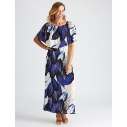 Millers Extended Frill Overlay Abstract Maxi Dress - Blue Abstract - 10 found on Bargain Bro from Katies for USD $11.83